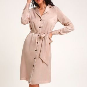 LULUS! Blush Satin Long Sleeve Midi Shirt Dress